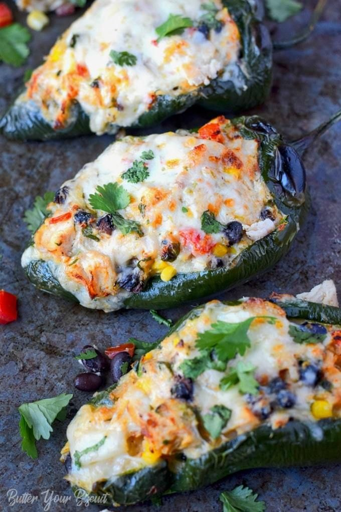 Chicken And Cheese Stuffed Poblano Peppers Recipe Stuffed Peppers Peppers Recipes Recipes
