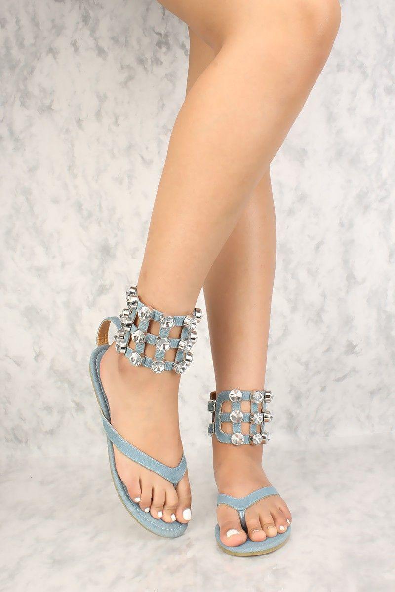 1b66d8f24569 Buy Sexy Denim Rhinestone Thong Sandals with cheap price and high quality  Sandals