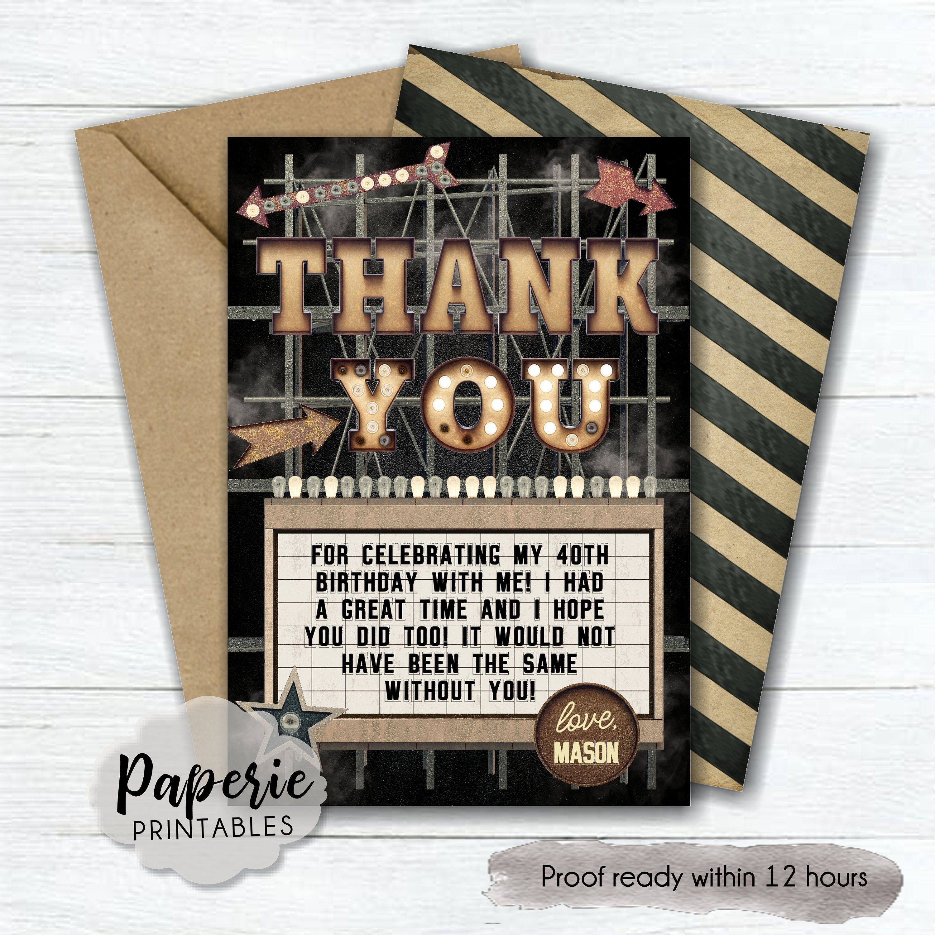Masculine Birthday Party Thank You Card Mens Birthday Thank Etsy Birthday Thank You Cards Thank You Cards Masculine Birthday Party