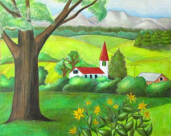 Color Pencil Landscape Drawing Happy Family Art Landscape Drawings Drawing Scenery Easy Nature Drawings