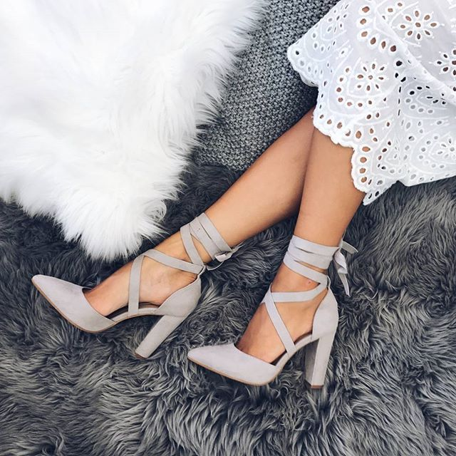 Billini  Ellery In Light Grey Suede Produced is part of Trendy heels, Lace up shoes, Womens black booties, Heels, Cute shoes, Prom heels -  4in