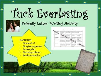 Tuck Everlasting Friendly Letter Writing Activity  Letter Writing