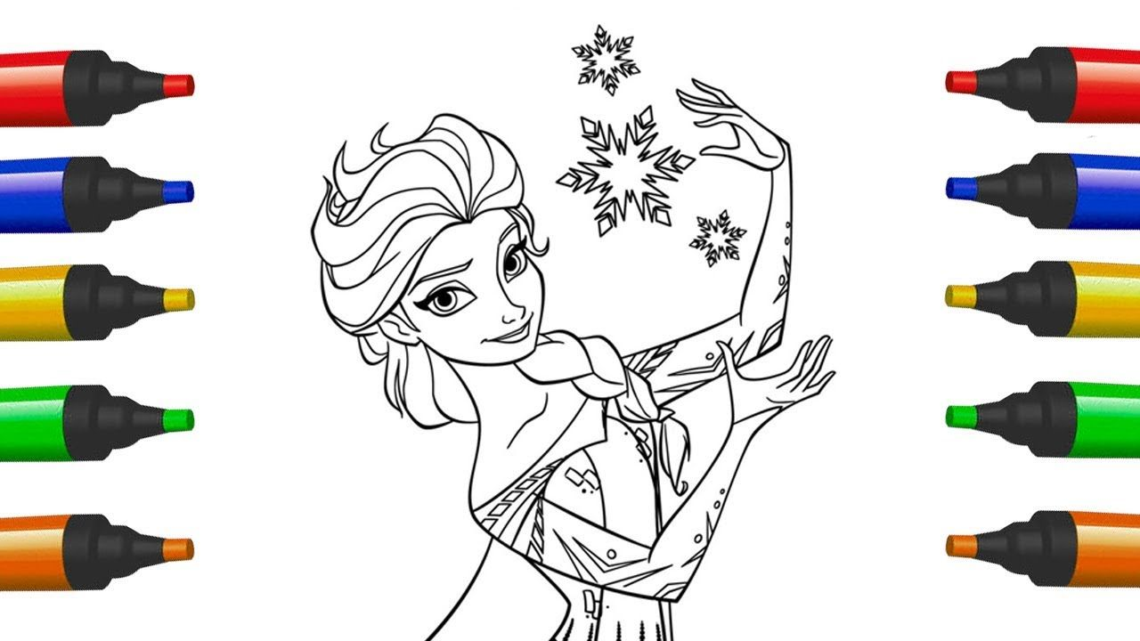 How to Draw Princess Elsa For Kids Coloring Pages For Children Art ...