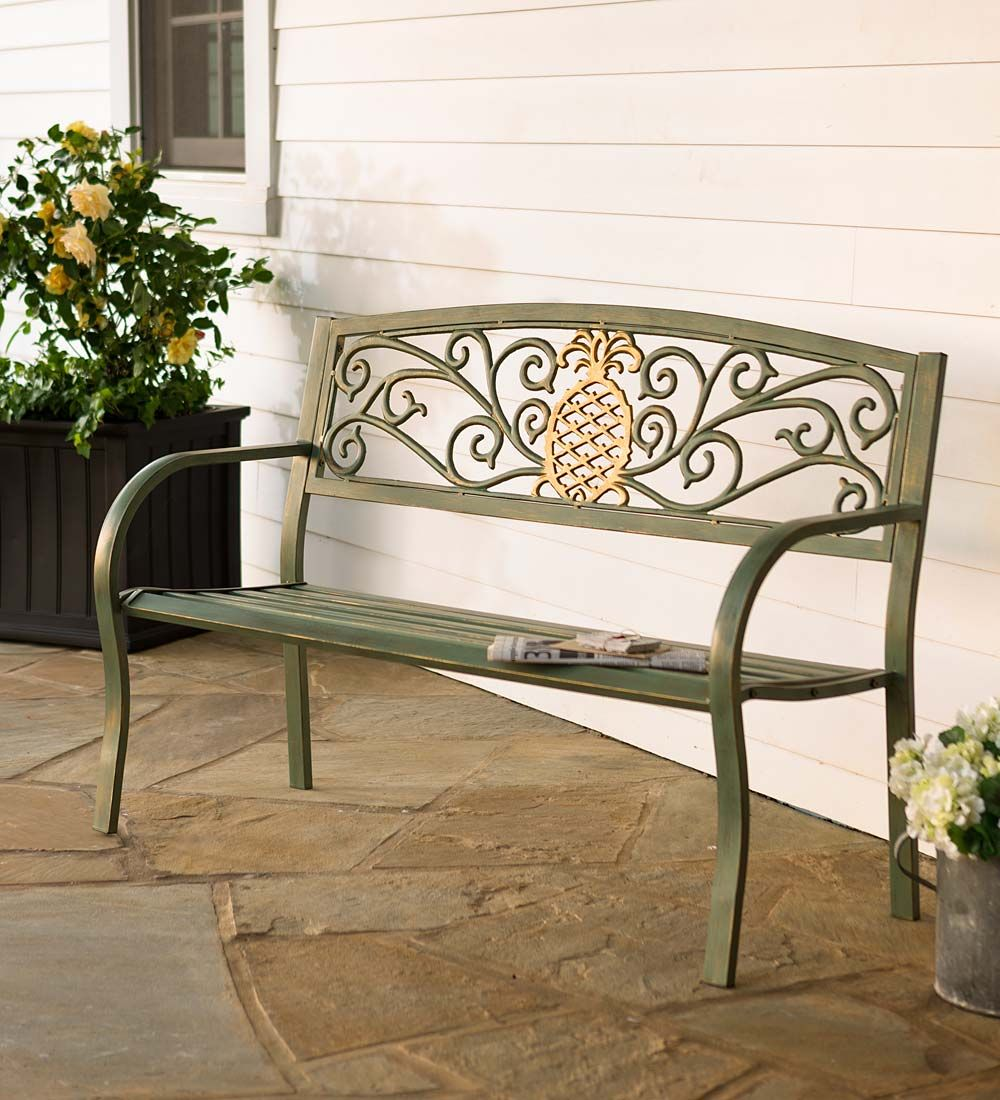 Magnificent Pineapple Metal Garden Bench Patio Garden Benches Caraccident5 Cool Chair Designs And Ideas Caraccident5Info