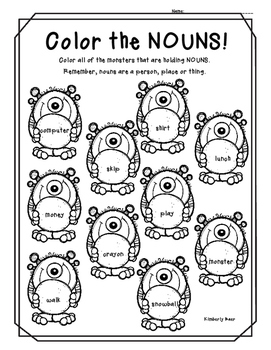 Color The Nouns Color Worksheet Nouns Adjectives Good