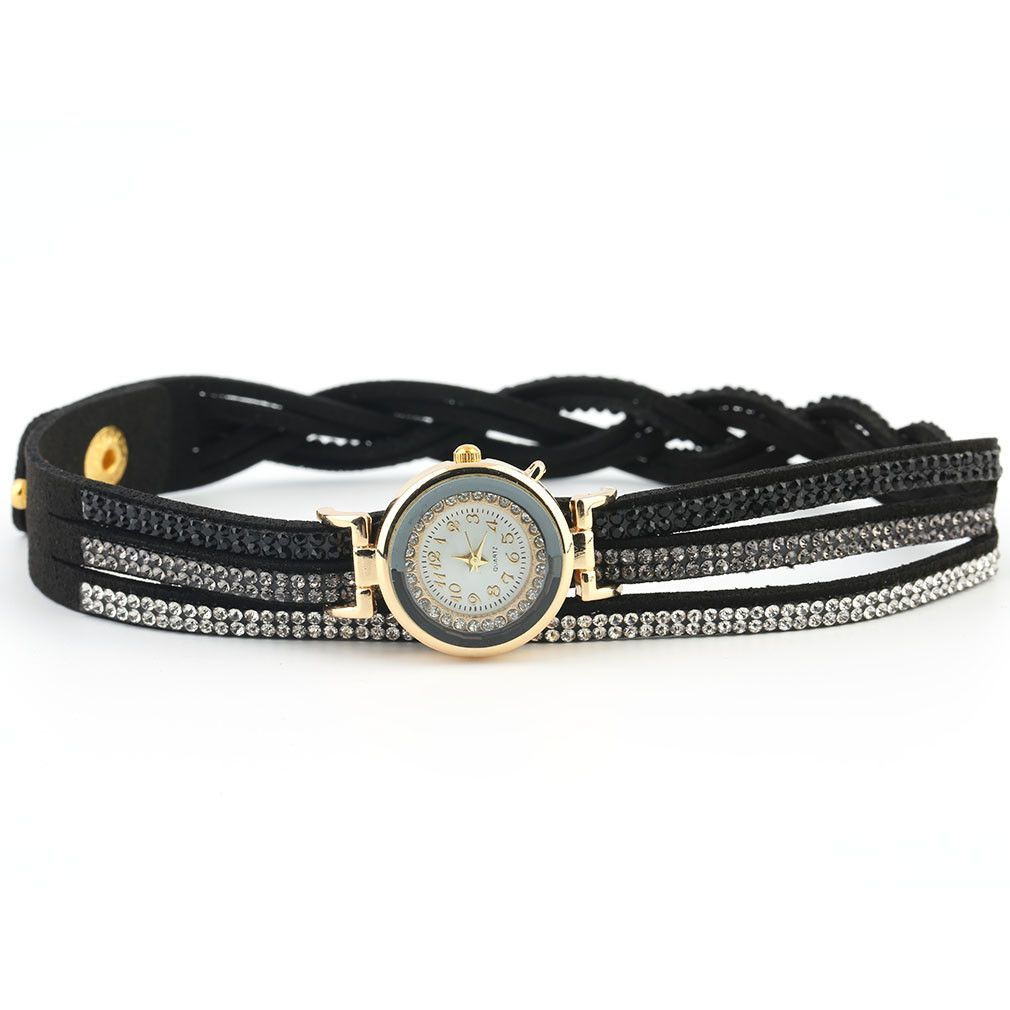 Casual round analog quartz crystal leather bracelet wrist watches