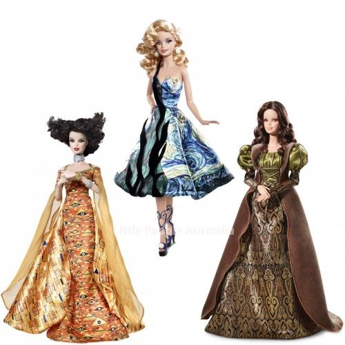 2010 Museum Leonardo da Vinci Gustav Klimt Vincent Van Gogh Inspired Collectors Barbie Dolls