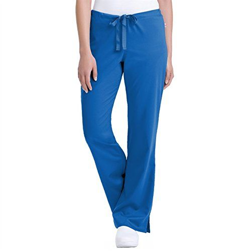 Landau Urbane 9310 Women's Katie Drawstring Pant Royal Petite X-Small. Drawstring waitline for the perfect customizable fit. Relaxed fit for an active lifestyle. Patch pocket for convenient storage. Flare leg vents to add style and comfort. 54% rayon/44% polyester/2% spandex.