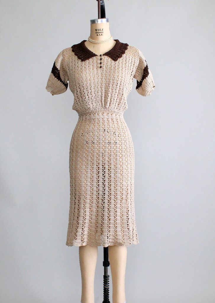 Vintage 1930s Babydoll Knit Day Dress | Day dresses, Vintage and ...