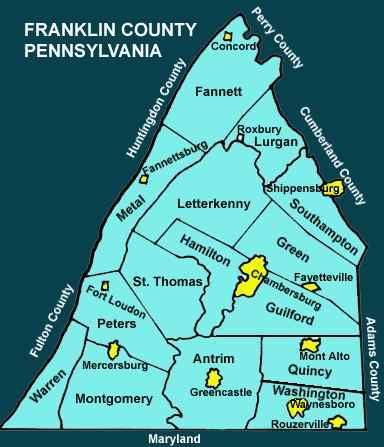 Franklin County Pennsylvania Township Maps Franklin County Chambersburg Pennsylvania County
