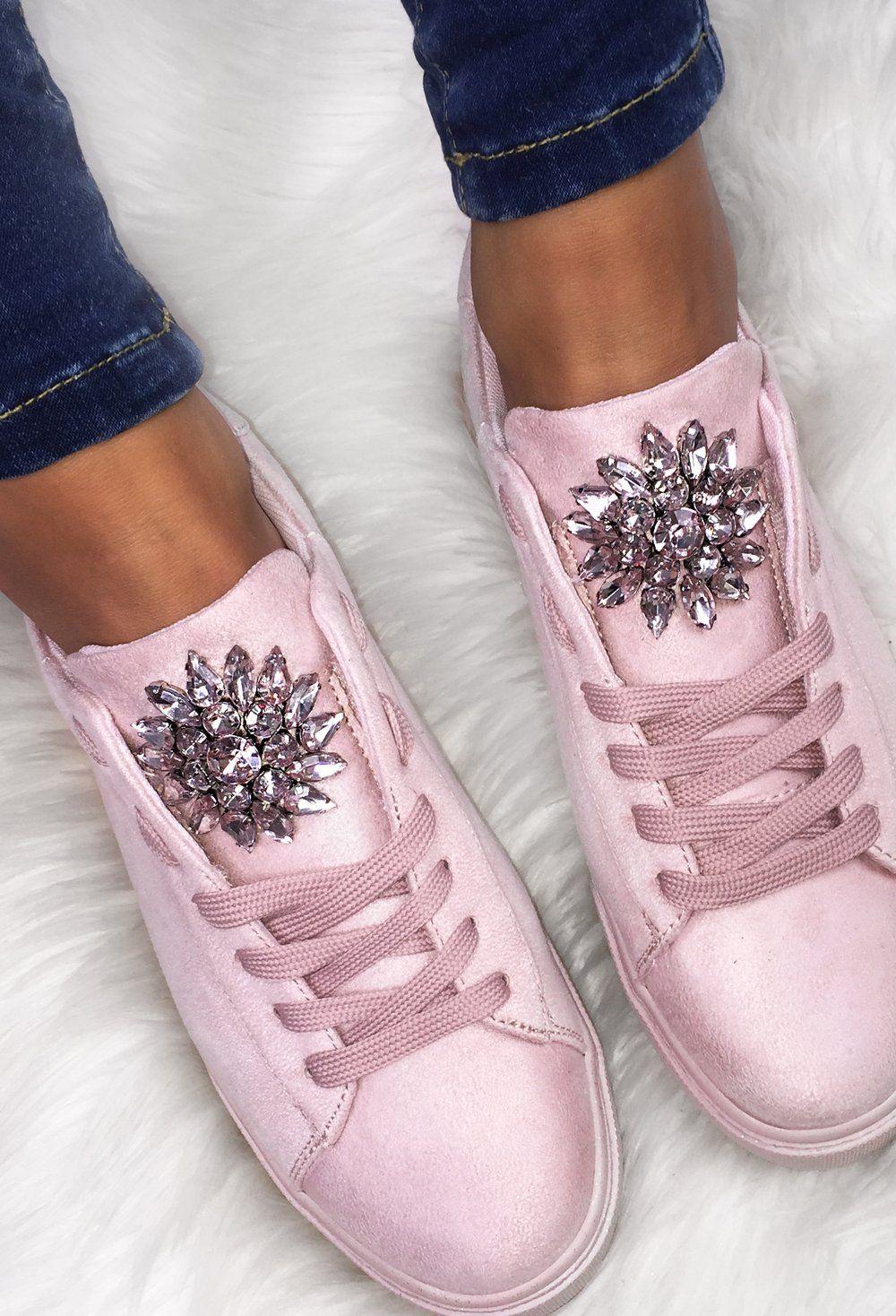 Aspiring Pink Diamante Cluster Lace