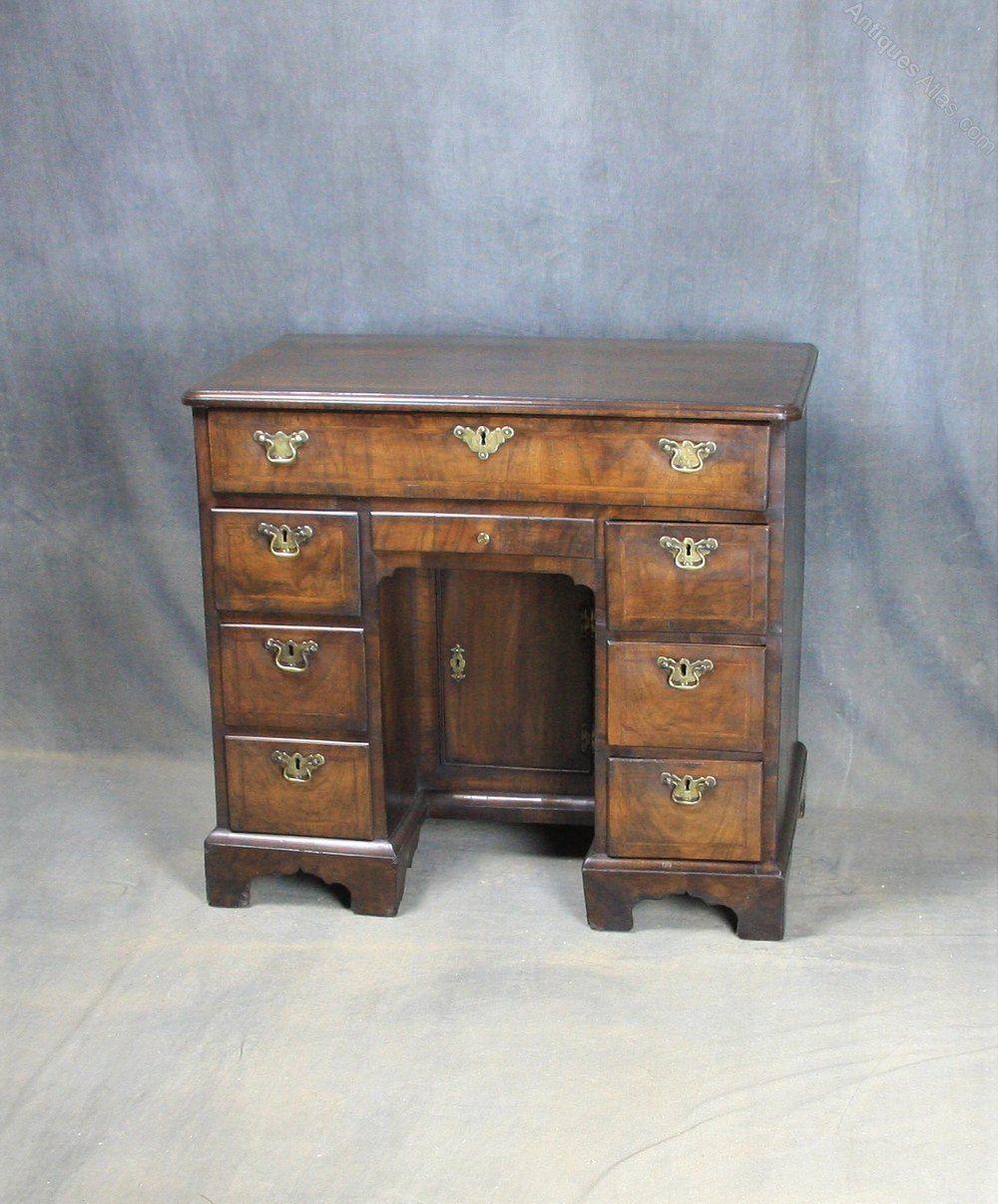 George I Walnut Kneehole Desk Desk Small Cupboard Antique Desk