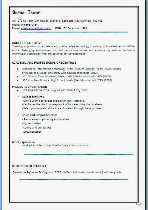 curriculum vitae profissional Sample Template Example ofExcellent - sample resume for software testing freshers