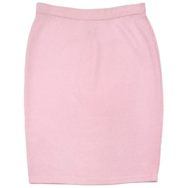 Pre-owned St. John Pink Knit Skirt ($109) ❤ liked on Polyvore featuring skirts, none, polka dot skirt, knit maxi skirt, dot skirt, pink polka dot skirt and long knit skirts