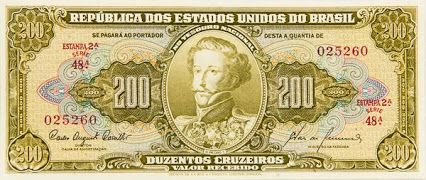Cedula De 200 00 Cruzeiros Estampa 2ª Serie 48ª Numero 025260