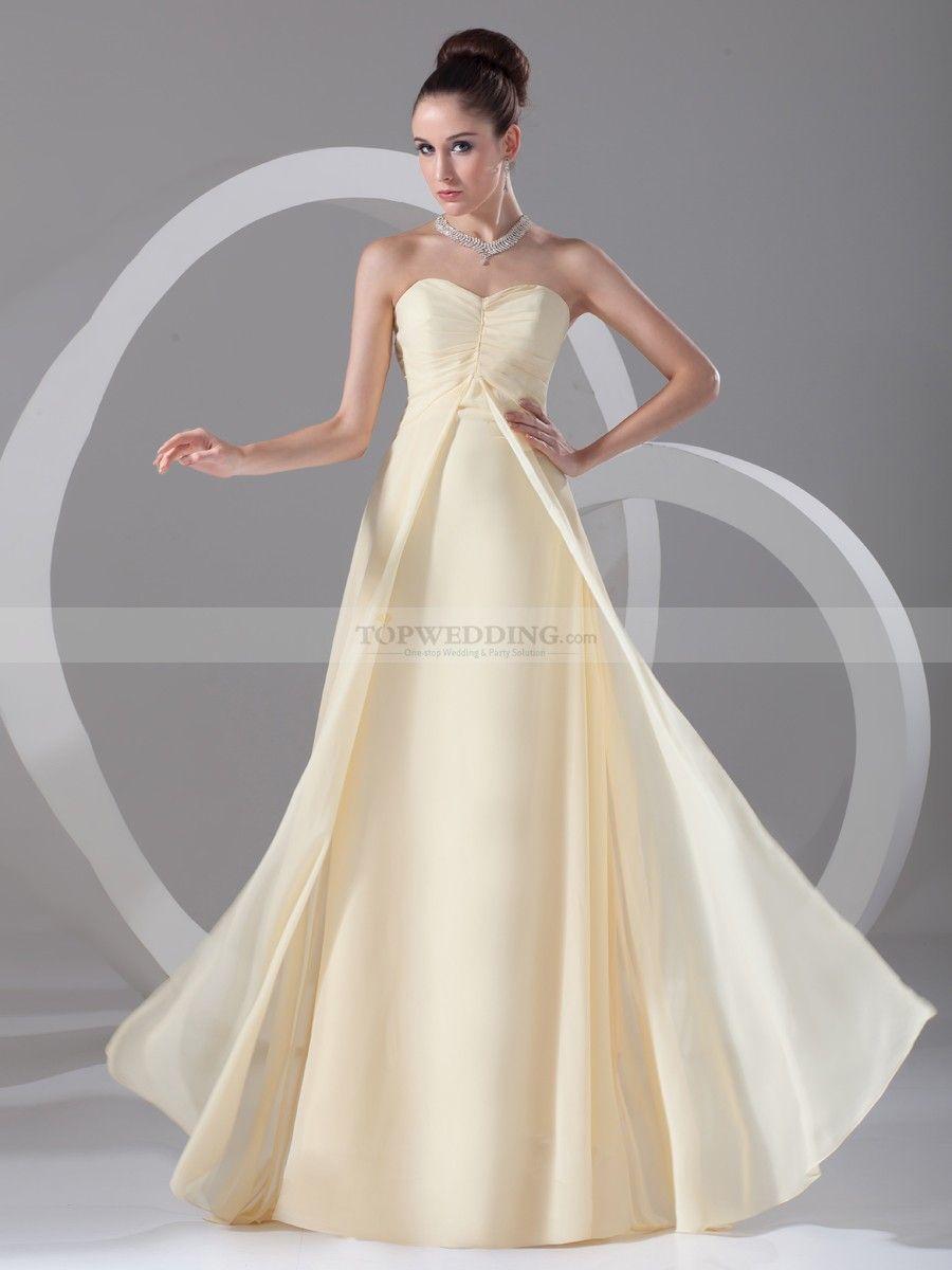 Elegant chiffon sweetheart empire floor length bridesmaid dress