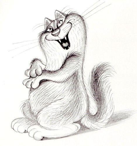 Первым, смешные рисунки карандашом кошек