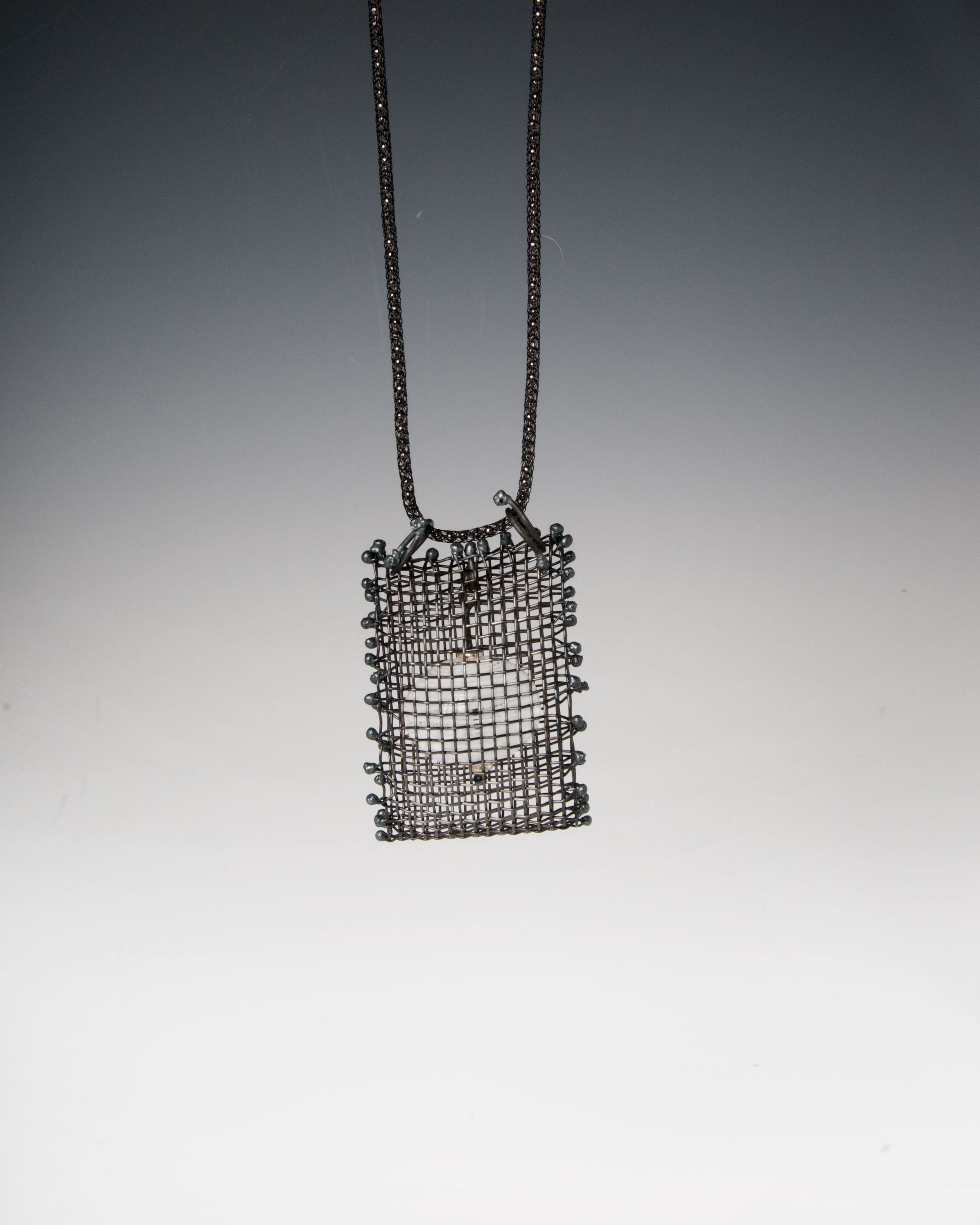 Anne Lindsay Jewelry Steel Wire mesh and hand made white glass ...