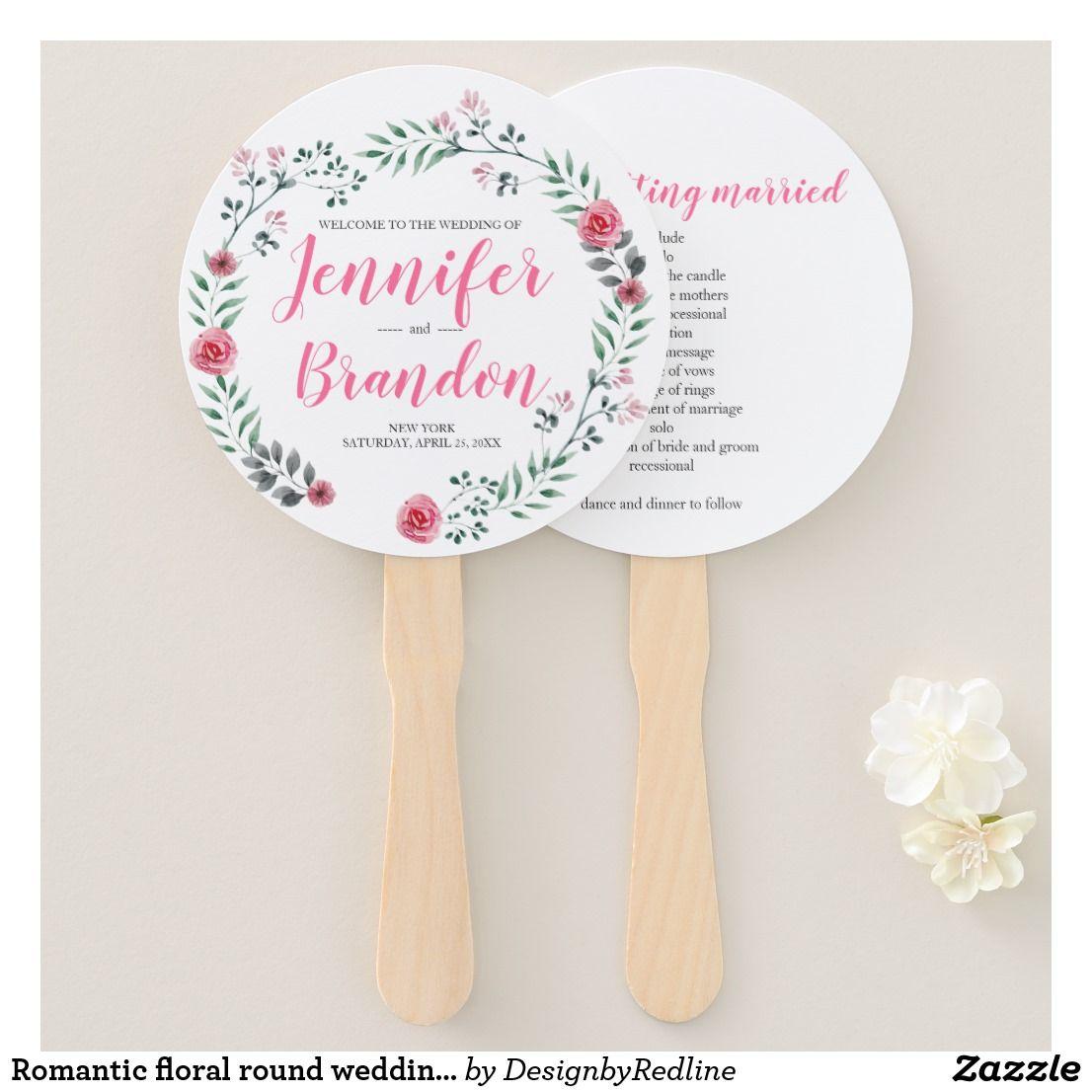 Romantic floral round wedding program fan wedding handpaddle