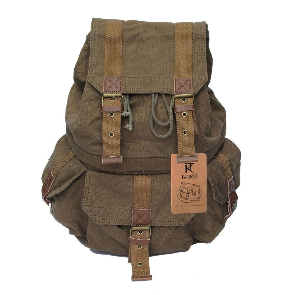 Amazon.com: Kattee Military Style Canvas DSLR SLR Camera Backpack ...