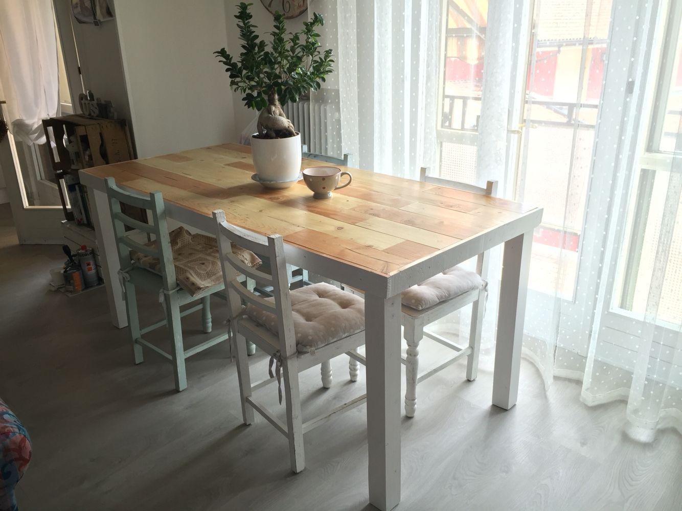 Tavolo In ~ Tavolo in legno bancali lampadario in legno fai da te