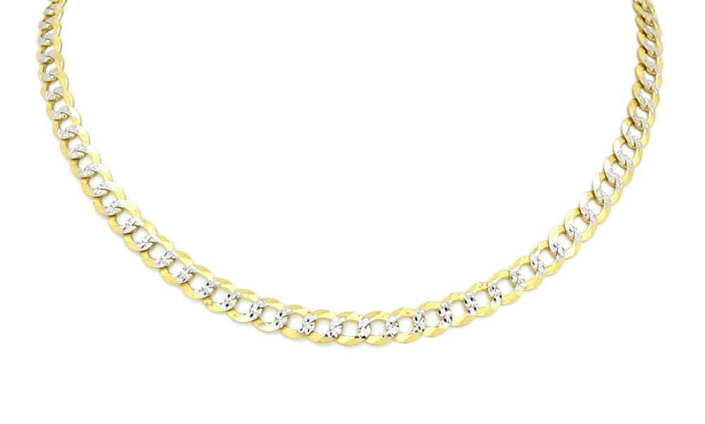 Real 14k Two Tone Yellow White Gold Hollow Cuban Chain Necklace 4 5mm Unbranded Cuban Cuban Chain Chain Necklace Necklace For Girlfriend