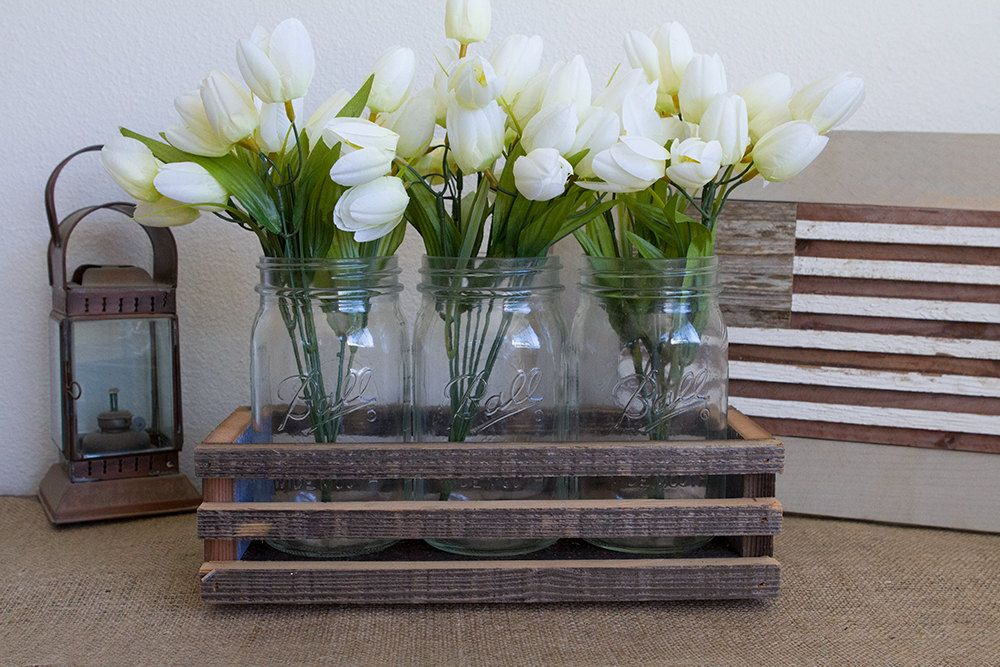 Items Similar To Rustic Wood Centerpiece Box Mason Jar Barn Planter On Etsy
