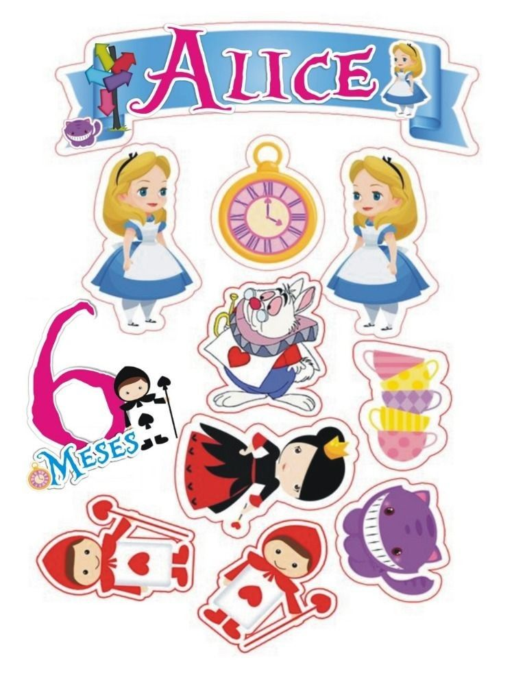 Topo De Bolo Alice No Pais Das Maravilhas Para Imprimir Alice In