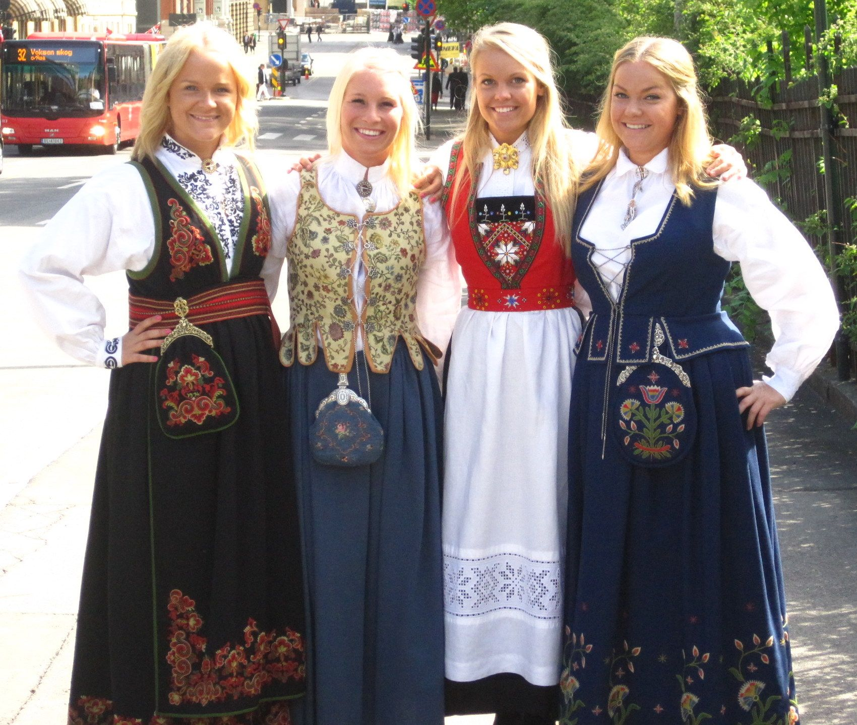 Blonde Norwegian girls in traditional costumes (bunader).