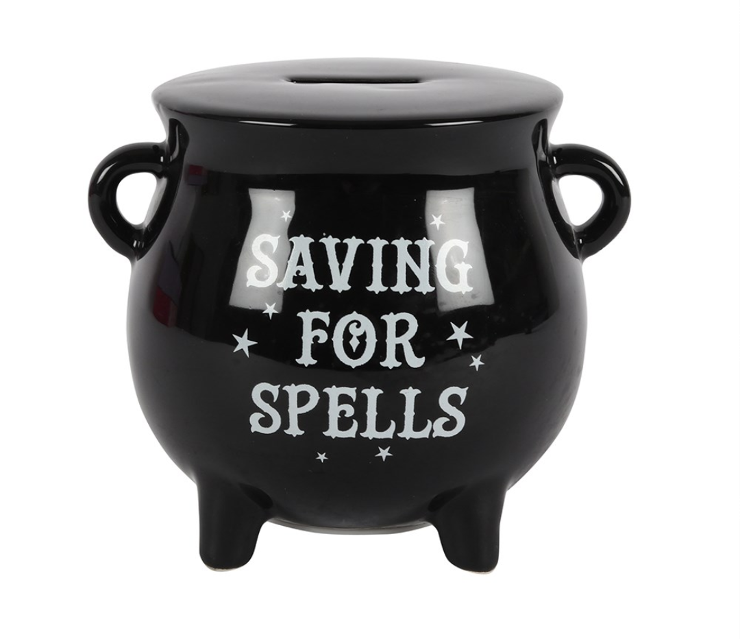 Witches big and small will love saving their coins in this ceramic cauldron money box. Features 'Saving for spells' text on the front.