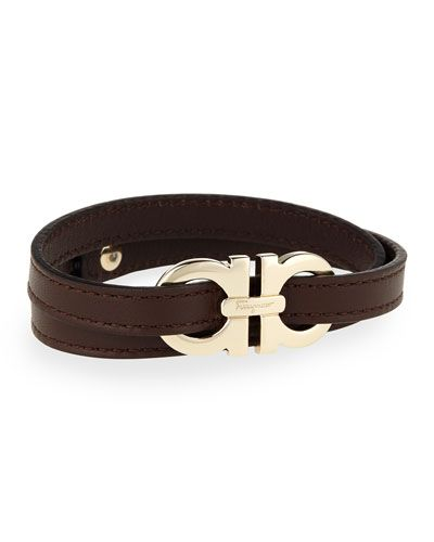 N36vw Salvatore Ferragamo Men S Gancini Leather Wrap Bracelet Brown
