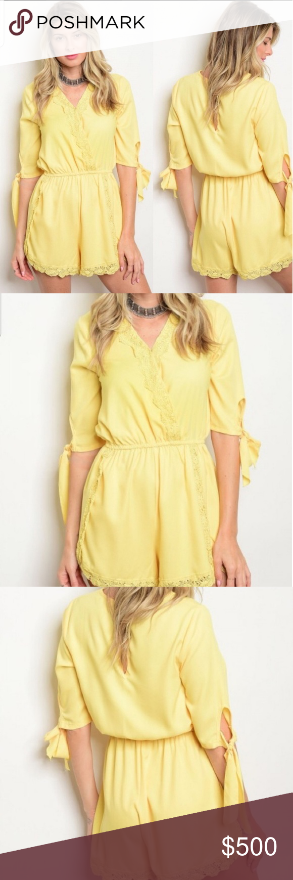 Yellow Romper Jumpsuit New Yellow Romper Jumpsuit Now  Available In small medium and large 100% polyester approx measurements for the small L:34 B 28 I.S: 4Like For Price Drop! Pants Jumpsuits & Rompers #jumpsuitromper