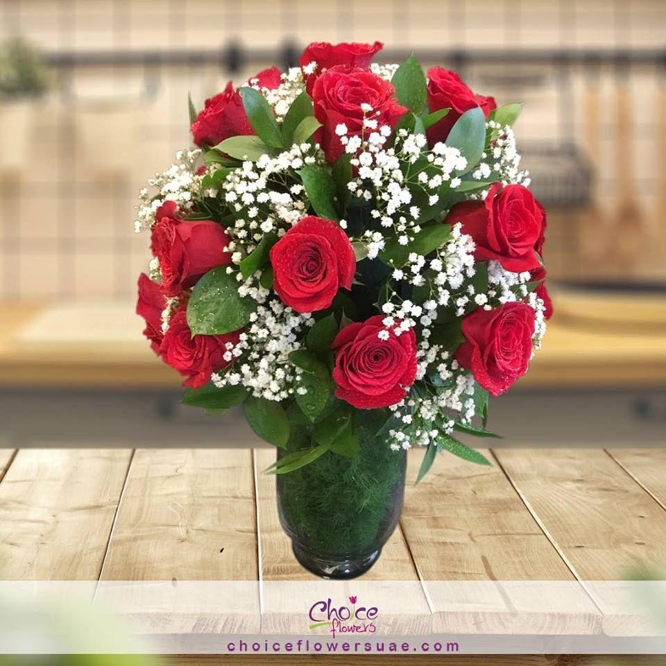 Rose Vase Order Now Www Choiceflowersuae Com Flowers Gifts Roses Redroses Redrosebouqu Flower Delivery Online Flower Shop Red Rose Bouquet