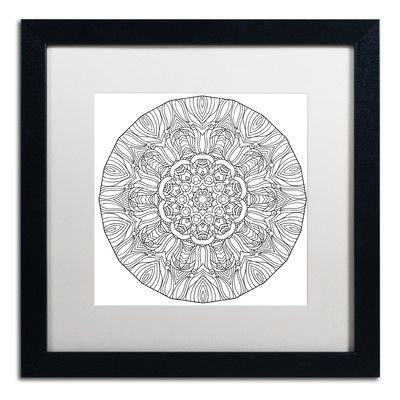 """Trademark Art """"Mixed Coloring Book 12"""" by Kathy G. Ahrens Framed Graphic Art Matte Color: White, Size: 16"""" H x 16"""" W x 0.5"""" D"""