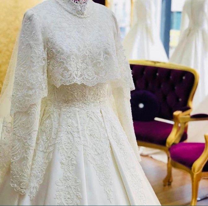 Model Gamis Brokat Pesta Lace Payet Putih Pakaian Pernikahan Gaun Pengantin Sederhana Pengantin