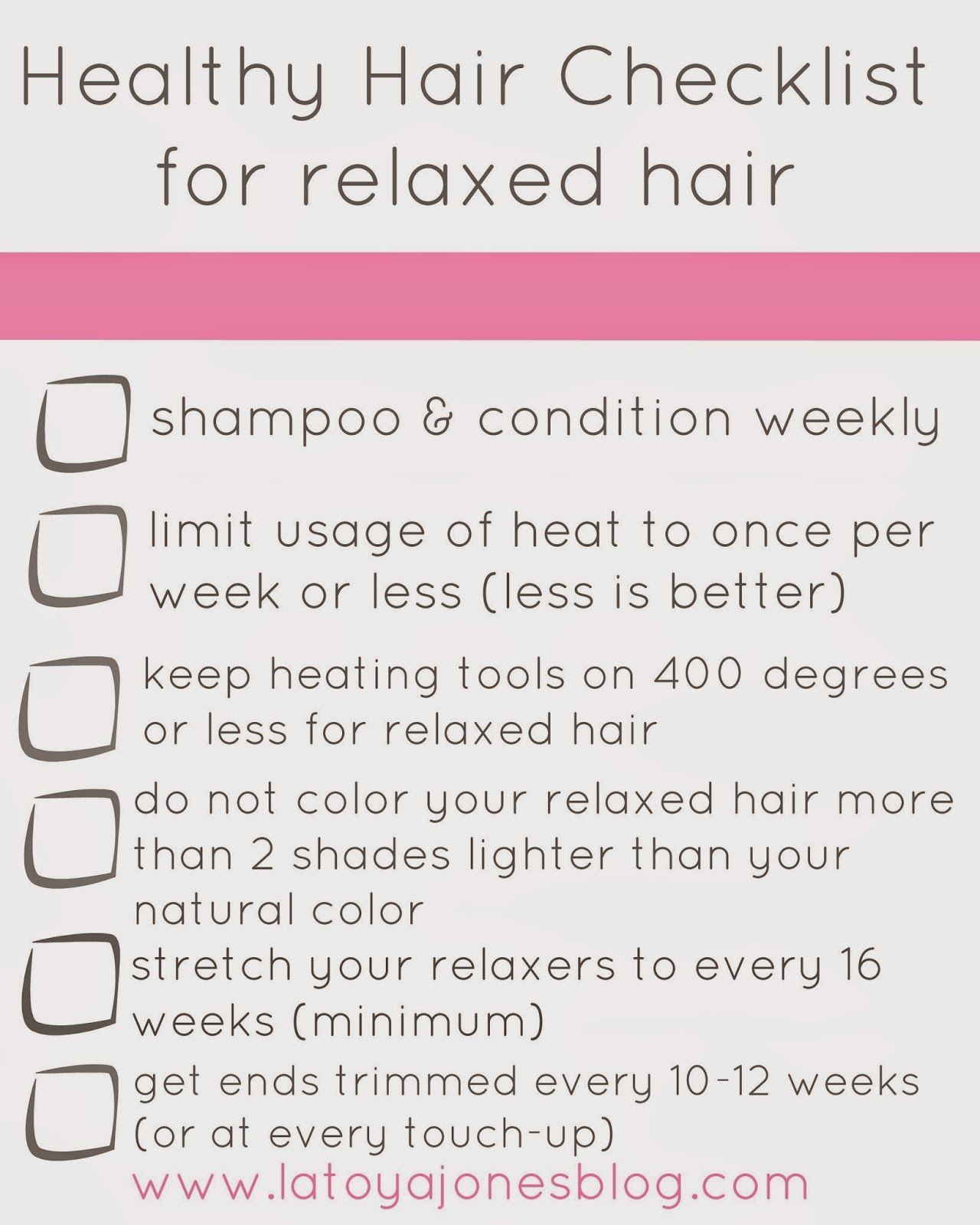 Healthy Hair Checklist (for relaxed hair),LaToya Jones blog is a professional hairstylist's t... -   13 professional hair Tips ideas