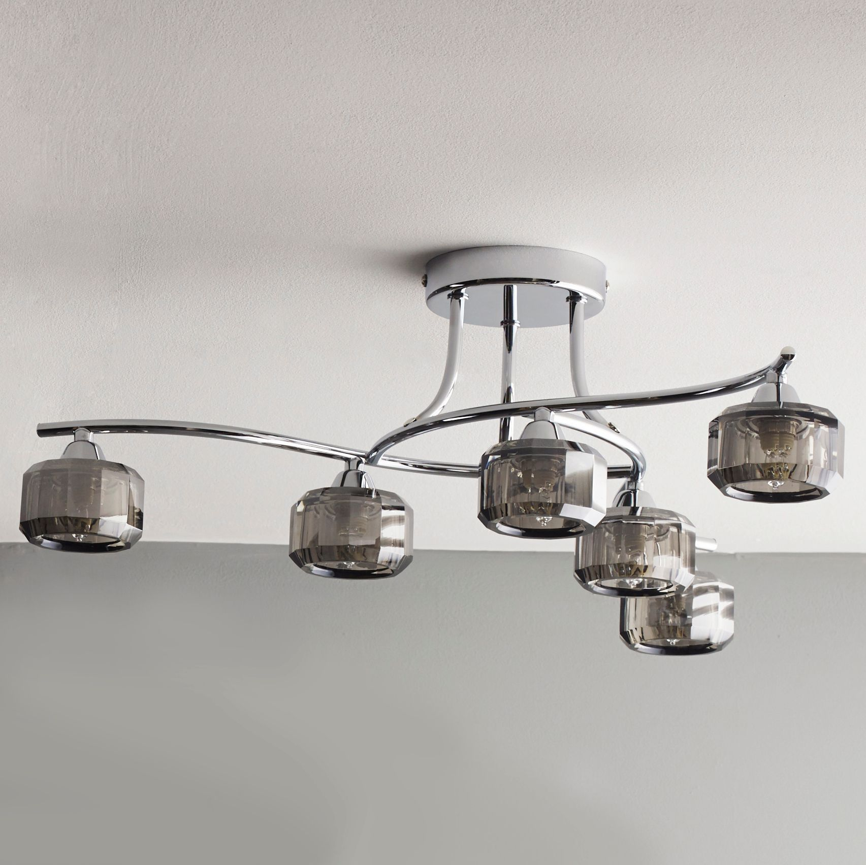 Allyn Clear Chrome & Smoked Glass 6 Lamp Ceiling Light