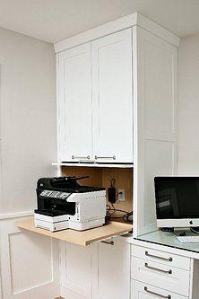 Custom Desk And Printer Storage Home Office Cabinets Home Office Design Home Office Decor
