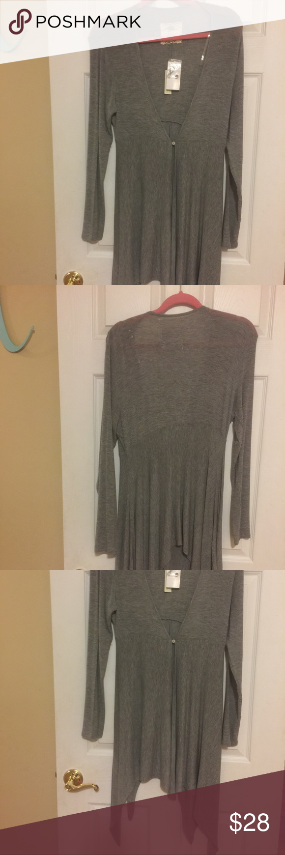 Light Weight Decoration Cupid Sweater Cupio sweater, Heather Grey, 96% Viscose, 4% spandex, machine wash cold gentle cycle with like colors, dry flat.  46 inches to longest bottom. Bottom of sweater is uneven ends. Waist is 34 inches. Has one button. Cupio Sweaters Cardigans