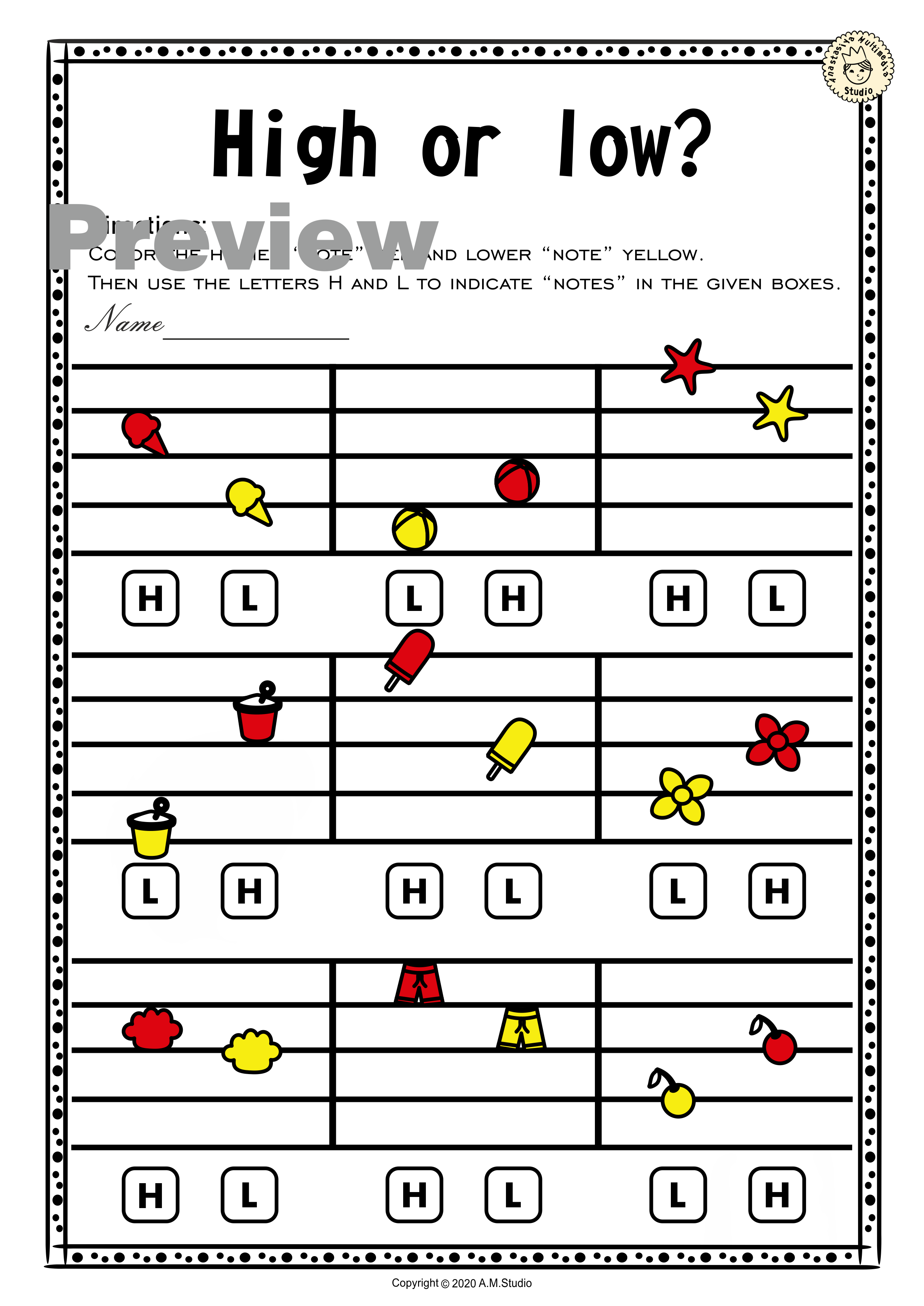 Summer Music Worksheets Lines Spaces High Low With
