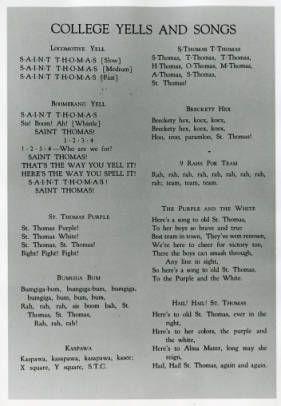 Lyrics To St Thomas College Cheers Yells And Songs Undated Thomas College College Song College Cheer