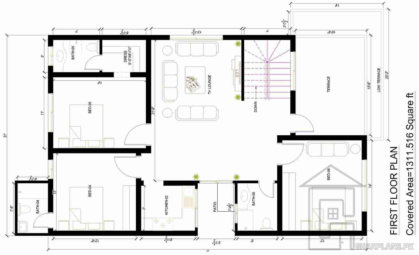 10 marla house map with basement first floor yash for Map of home design