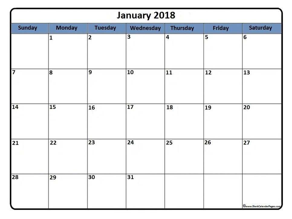 January 2018 printable calendar Library Crafts and Ideas - workout calendar template