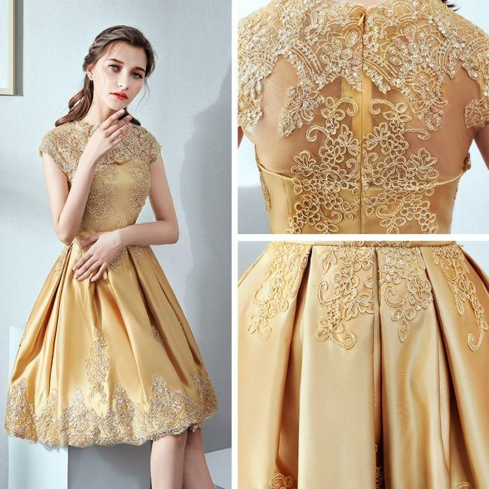 6546fd43b9dc0 2018 A-line Short Prom Dresses Knee-length High Neck Gold Homecoming ...