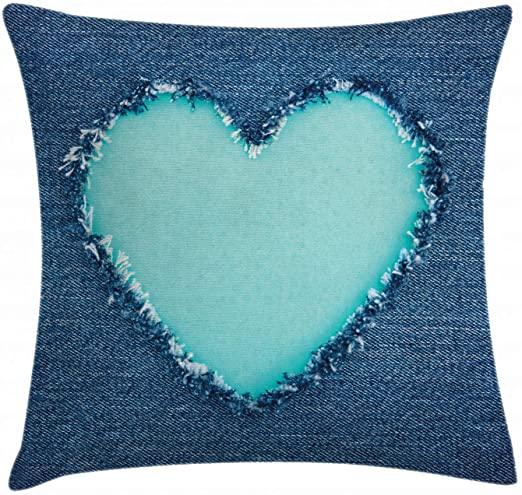 Linen Pillowcushion Heart sequins