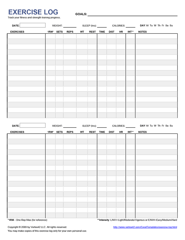 Free Printable Exercise Log Pdf From Vertex42 Shawnis Board