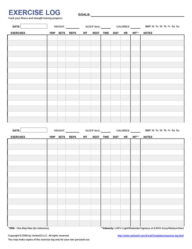 free printable exercise log  pdf  from vertex42 com