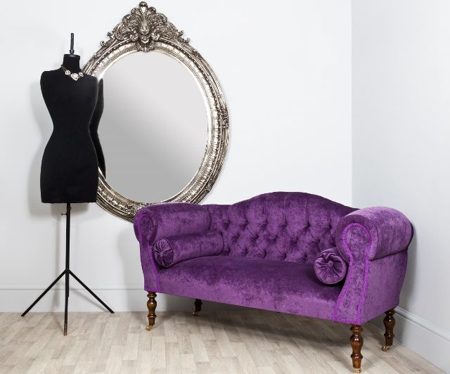 Swell Traditional Small Buttoned Back Dark Purple Velvet Sofa Customarchery Wood Chair Design Ideas Customarcherynet
