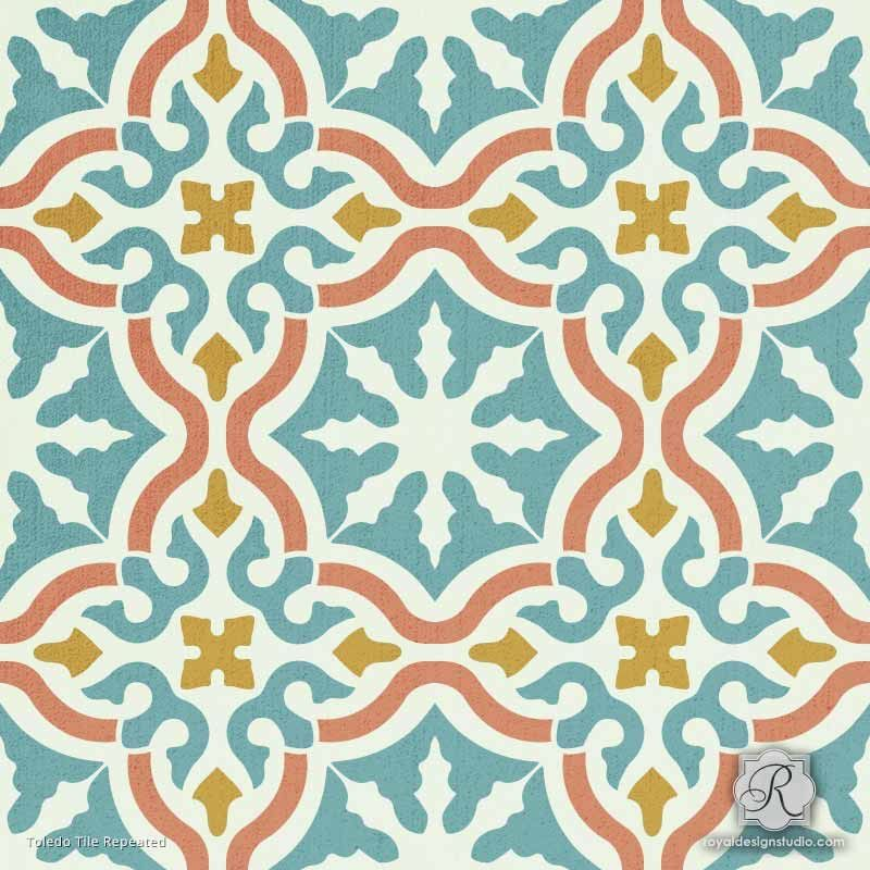 Toledo Tile Stencil Painting Tile Floor Pinterest Painted Gorgeous Spanish Patterns