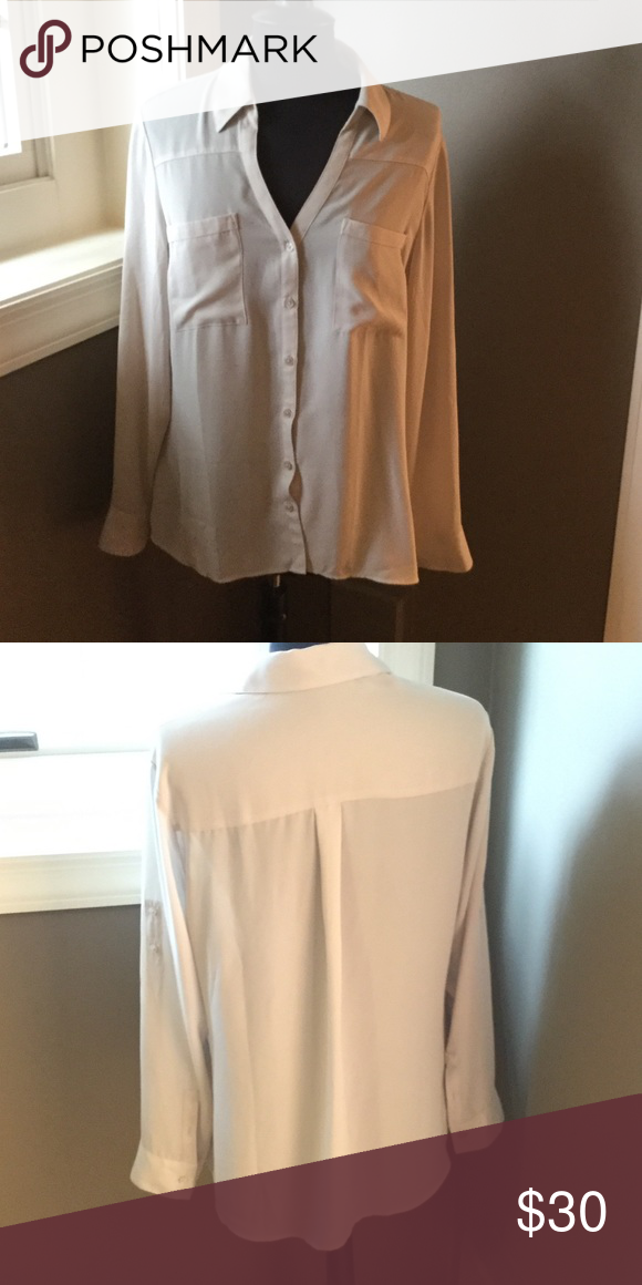NWOT Express Portofino shirt NWOT Express Portofino shirt in  cream. Has a collar and button front closure, this shirt would be so cute under a blazer for work! Express Tops Button Down Shirts